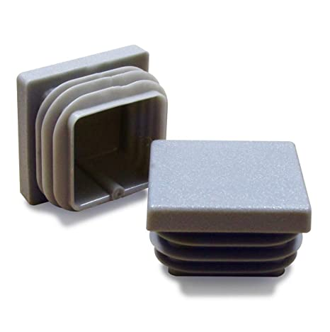 ajile - 4 piezas - Contera acanalada para tubo cuadrado 20 x 20 mm - GRIS - EPC320