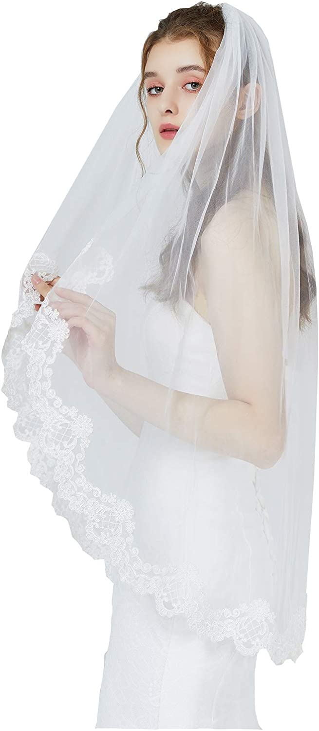 "Wedding Bridal Veil with Comb 1 Tier Lace Applique Edge Fingertip Length 41"" V87 Ivory White"