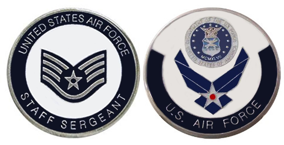 "Air Force ENLISTED RANKS - Staff Sergeant ""E5'' Collectible Challenge Coin  /Logo Poker / Lucky Chip/ Gift"