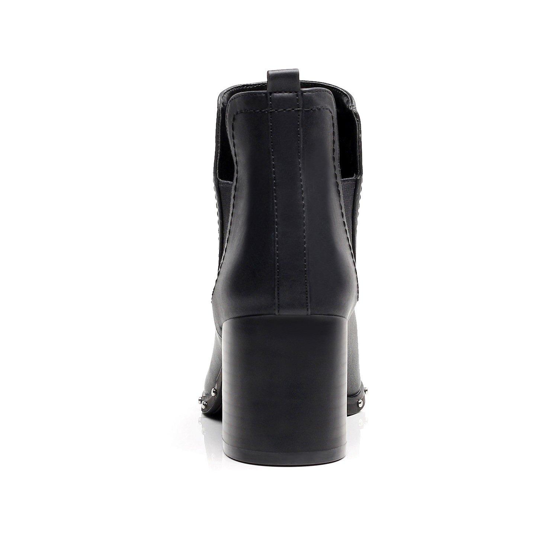 DUNION Women's Slip On Glamour Fashion Chunky Heel Ankle Boot B074LB8VW1 7.5 M US Black