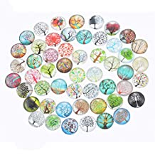 Souarts Mix Randomly Tree of Life Glass Flatback Scrapbooking Dome Cabochons 20mm Pack of 10pcs