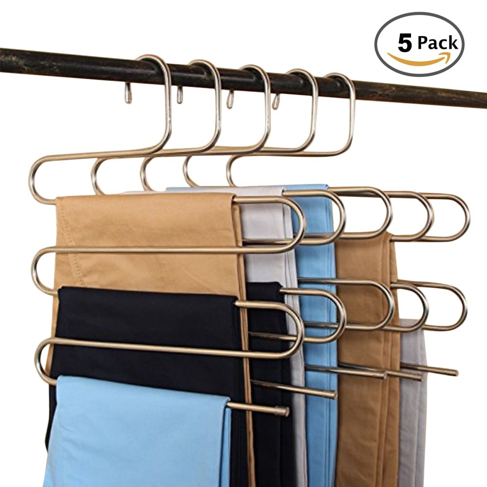 Pants Hangers S-type 5 layers Stainless Steel Trousers Rack Space Saving Perfect for Pants Towel Multi-Purpose Closet Hangers Magic Space Saver Storage Rack (1pc) New_Soul