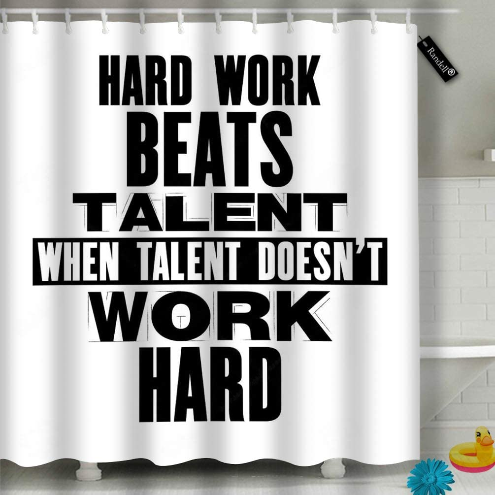 "Randell Decor Shower Curtain Set Hard Work Beats Talent When Does Not 72"" 72"" Bathroom Accessories"