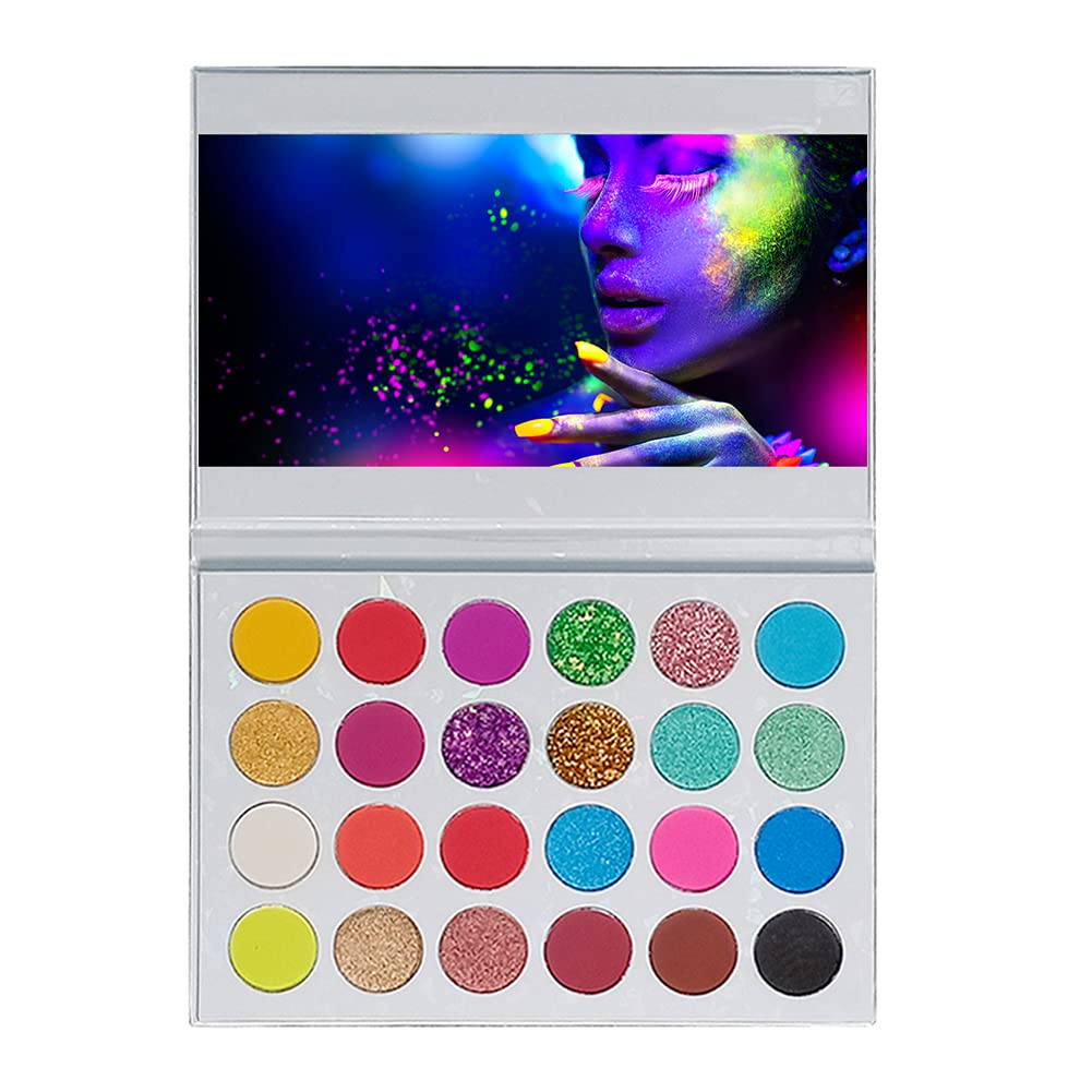 24 Colors Neon Luminous Eyeshadow Palette Highly Pigmented Matte Shimmer Natural Ultra Eye Shadow Five-Pointed Star Glitter Eye Shadow Glow in the Dark Fluorescent Eyeshadow Makeup Palette for Party Halloween Christmas Stage Performance