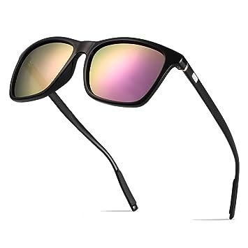 BOYOU Polarizado Wayfarer Gafas de Sol Aviador Mujer Hombre Retro Vintage Al-Mg Metal Super Ligero Marco: Amazon.es: Deportes y aire libre