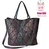 LOYOMA Geometric Luminous Purse Large Satchel Bag Holographic Tote Top Handle Handbag Rainbow Shoulder Bags