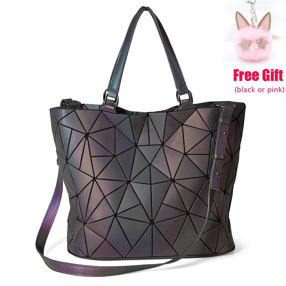 LOYOMA Geometric Luminous Purse Large Satchel Bag Holographic Tote Top Handle Handbag Rainbow Shoulder Bags (Style One)