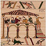 Home Furnishings, Bayeux Le Repas French Tapestry Cotton Throw Pillow Case, Hand Finished Cushion Cover, 19 by 19 Inch