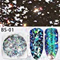 Minejin Nail Art Chameleon Sequins Laser Glitter Holographic Flakes Paillette Galaxy Mirror Powder 3 Boxes