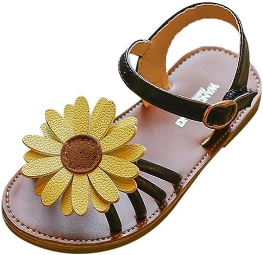 Kids Youth Girls Sandals Cute Shoes Floral Flip Flops Buckle Summer Flats Sz9-4