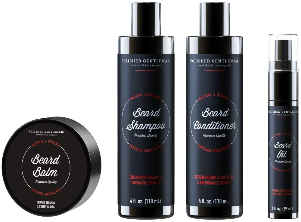 Beard Growth Shampoo Grooming Kit for Men - with Beard Wash and Conditioner  - Best Beard