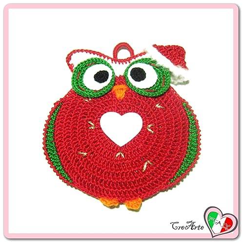 Rot Häkeln Eule Topflappen Für Weihnachten Aus Baumwolle Größe 15