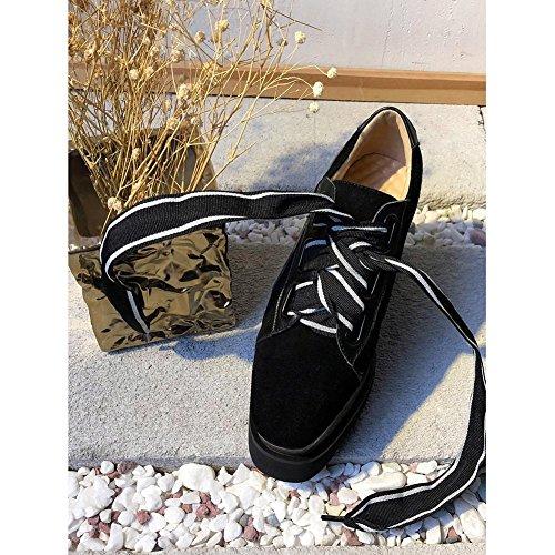 Scarpe Con Zeppa Kjjde Scarpe Donna Creepers Wsxy-a1818 Lacci Creativi Per Donna Derby Plateau Zeppa Tacco Nero