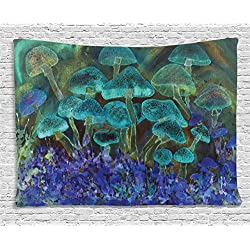 Ambesonne Psychedelic Tapestry, Unusual Speckled Fluorescent Mushroom Figures Dreamy Fantasy Graphic, Wall Hanging for Bedroom Living Room Dorm, 60 W X 40 L Inches, Slate Blue Violet