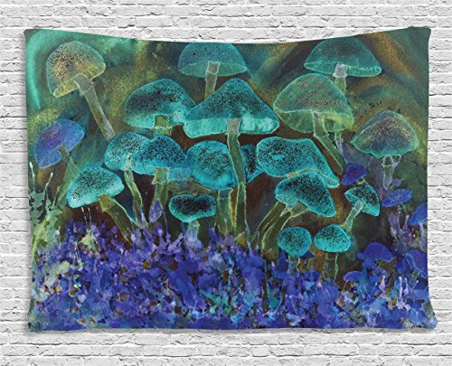 (Ambesonne Psychedelic Tapestry, Unusual Speckled Fluorescent Mushroom Figures Dreamy Fantasy Graphic, Wall Hanging for Bedroom Living Room Dorm, 80 W X 60 L Inches, Blue)