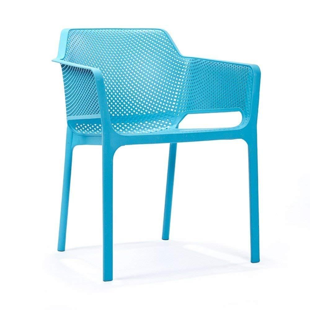 Blau Hause wohnzimmer hocker Stuhl-Nordic Freizeit Sessel Esszimmerstuhl Moderne Einfache Computer Stuhl Kunststoff Rückenlehne Stuhl Hocker Bequem (Farbe   Blau)