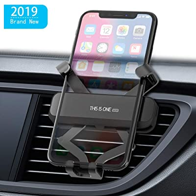 Car Mount Phone Holder,Gravity Phone Mount Auto-Clamping Car Phone Holder Shockproof Universal Car Phone Mount Mini Cell Phone Holder for Car for All Smartphones 4.0-6.5 inches (Gray)