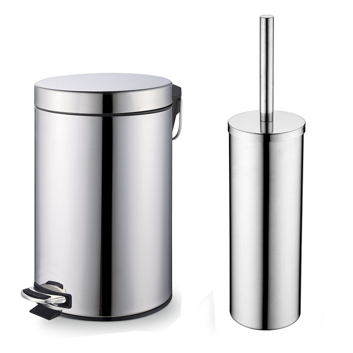 Home Treats Chrome Pedal Bin And Toilet Brush Set. 3 Litre Bin with Toilet Brush. 2 Piece Set For Bathroom