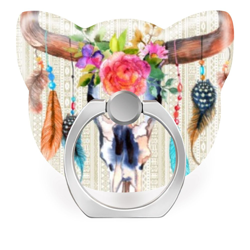 Galaxy S8//S9 Plus,Beige Tribal and Bull Skull with Horns iPhone 6//7//8 Plus Phone Ring Stand Holder 360 Degrees Rotation Finger Ring Car Mount Hooks for iPhone X//Xr//Xs Max
