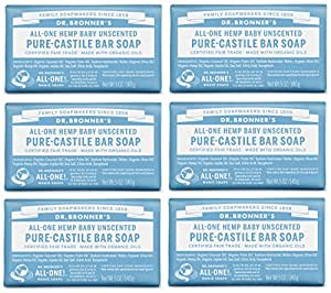 Dr. Bronner's Pure-Castile Bar Soap - Baby Unscented, 5 oz (6 Pack)