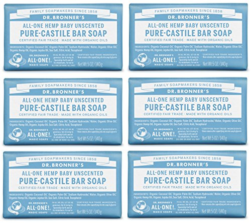 Dr. Bronner's Pure-Castile Bar Soap - Baby Unscented, 5oz. (Pack of 6)