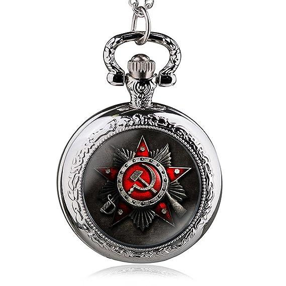 HWCOO Relojes De Bolsillo Reloj de bolsillo de cuarzo con símbolo de la bandera rusa (