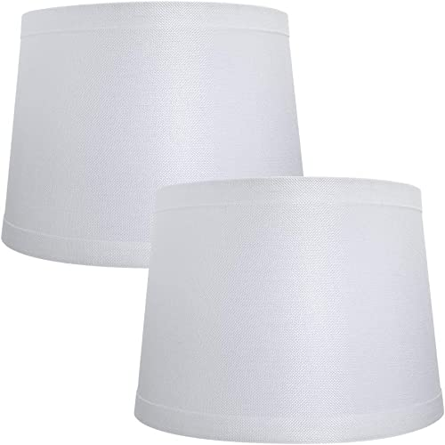 Double Medium Lamp Shades Set of 2, Alucset Drum Fabric Lampshades for Table Lamp and Floor Light,10x12x8 inch,Natural Linen Hand Crafted,Spider White, 2pcs in 1 Cartoon Box