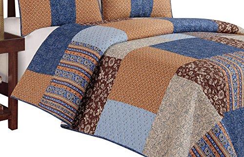 Bridget Quilt - C&F Home Bridget Quilt, King, Blue/Brown