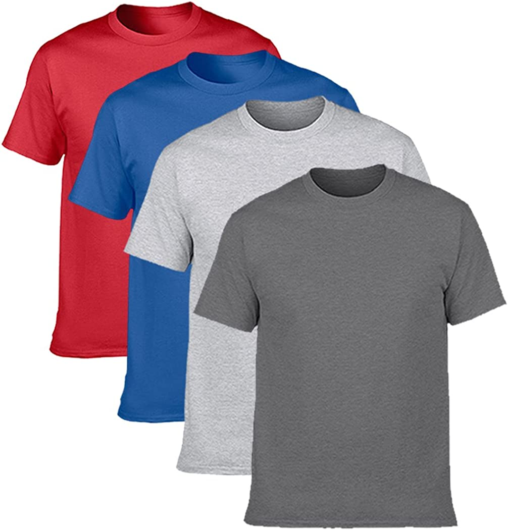 NewDenBer Men's Classic Basic Solid Ultra Soft Cotton T-Shirt   1-2-4 Pack