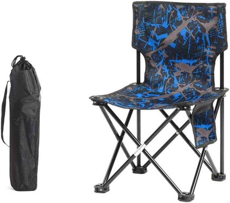 GFF Silla Plegable de Color Azul Simple Moda Portátil Metálico Intrépido Soporte de Hierro Forjado Silla de Playa Ocioso Tumbona (Tamaño: M)