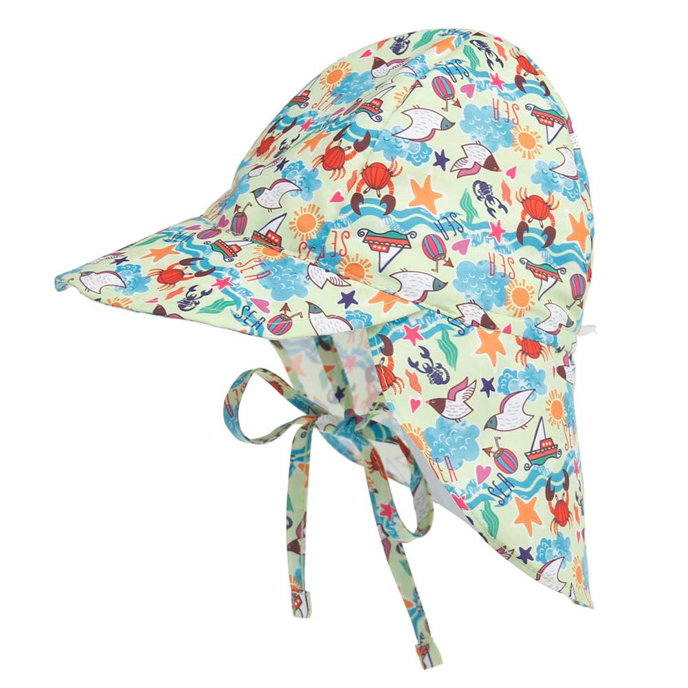Happy Cherry Beb/é Sombrero de Sol con Protecci/ón de Cuello para Ni/ños Ni/ñas Verano Infantil Gorra Ajustable para Playa Viajes Al Aire Libre Hat de Protecci/ón Solar 3 Meses-5 A/ños