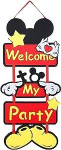 Icasy Mickey Party Supplies Mickey Door Decoration︱Welcome To My Party Door Sign Welcome Hanger Door Poster Banner Home Decoration
