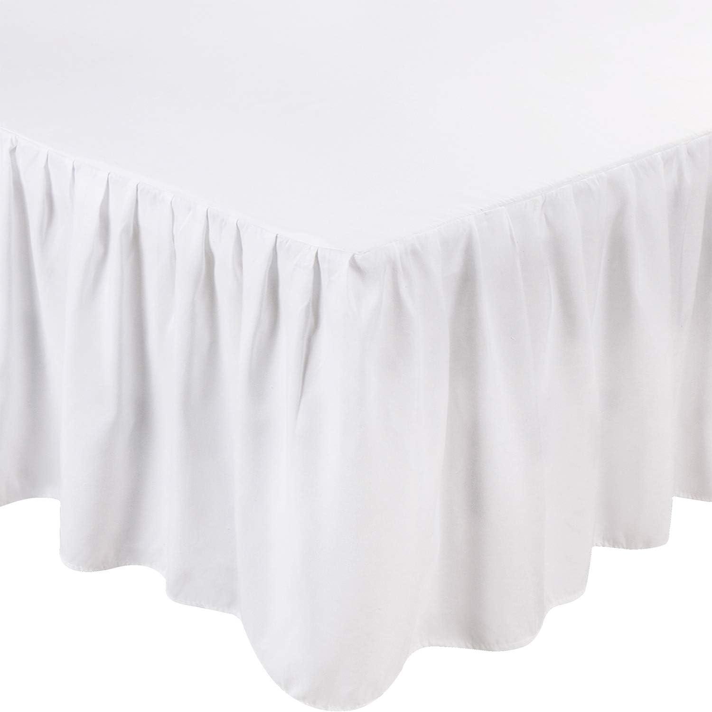 Utopia Bedding King Ruffle Bed Skirt,16 Inch Drop (White)