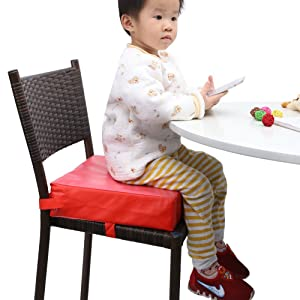 Zicac Kids' Dining Chair Heightening Cushion Dismountable Adjustable High Chair Booster Seat Pads (Red)