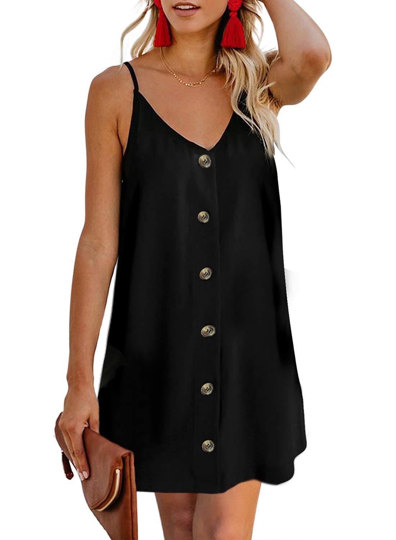 AlvaQ Women Summer V Neck Spaghetti Strap Button Down Loose Tunic Skater Mini Dress Black Medium by AlvaQ