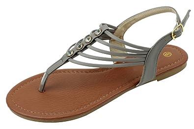 884dc9184832 Starbay-2231 Womens Designer Fashion Rhinestone Thong Low Gladiator Sandals  Grey 5