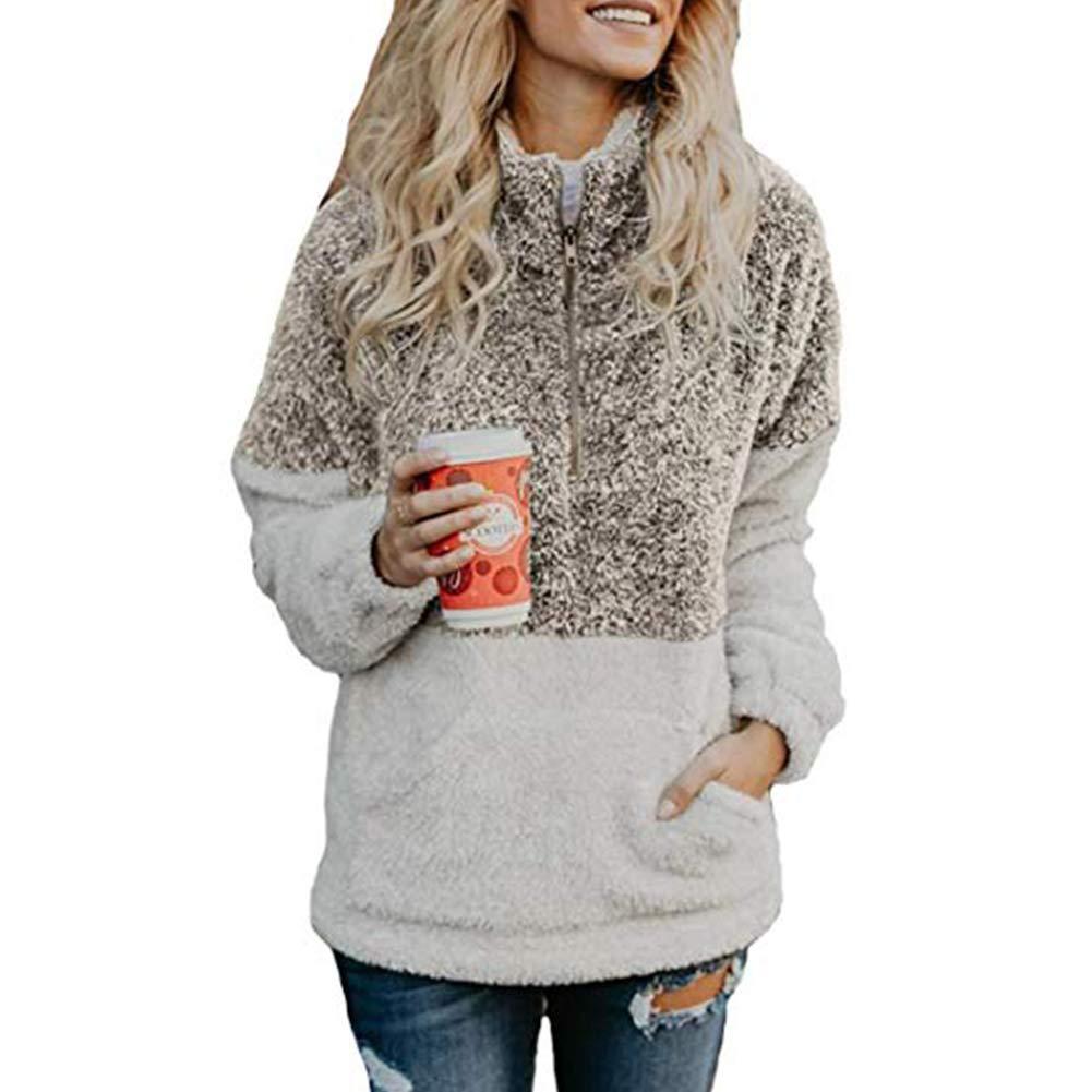PESION Women Warm Coat Long Sleeve 1/4 Zip Sherpa Sweatshirt Soft Fuzzy Faux Shearling Pullover Jacket Outwear Sweatshirt Autumn Winter Coat with Pockets