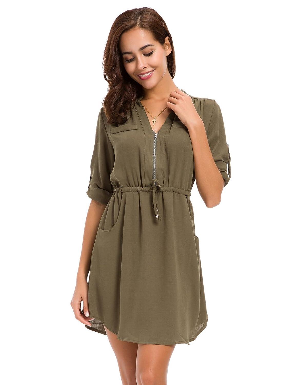 c739b20033 Design: Long roll-up sleeve deep v mandarin collar, drawstring waist,  knee-length, two side pockets dress with zipper up.