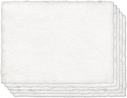 Indigo Artpapeles 100% algodón prensado en frío papel hecho a mano para acuarelas, color blanco 22 x 30, 5 Sheets: Amazon.es: Oficina y papelería
