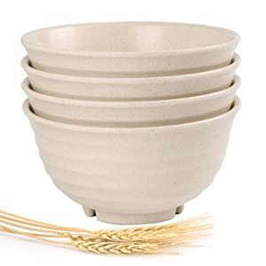 Shopwithgreen Unbreakable Durable Cereal Bowls - 28 OZ Wheat Straw Fiber Lightweight Bowl Sets 4 - Dishwasher & Microwave Safe - for Cereal,Salad,Soup, Noodle, 0.2 Inch Thick