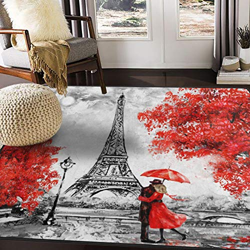 ALAZA Valentine's Day Lover Paris Eiffel Tower Area Rug Rugs for Living Room Bedroom 7' x 5'