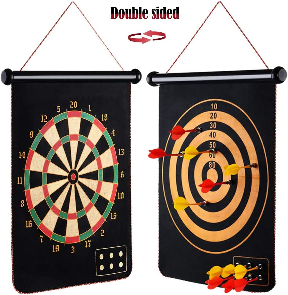 "Panshi Magnetic Dart Board Set, 15"" Double Side Dartboard with 6 Safe Magnet Darts for Outdoor/Office/Bar/Home, Gifts for Kids and Adults"