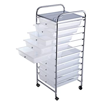 Amazon.com : NEW 10 Drawer Rolling Storage Cart Scrapbook Paper Office  School Organizer Clear : Office Products