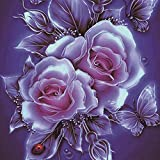 Cyhulu 5D DIY Diamond Embroidery Painting, Realistic Flower 5D Embroidery Paintings Rhinestone Pasted DIY Diamond Painting Cross Stitch Craft Home Office Decor Gift Art Wall Sticks (D, One size)