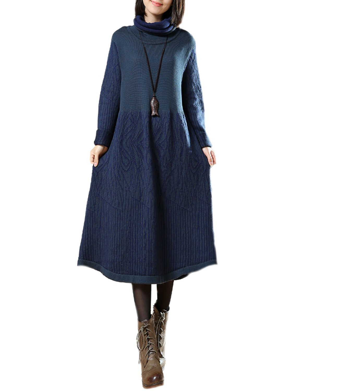 Medeshe Women Winter Turtle Neck Long Sleeve Sweater Knitted Dress (S/M/L, Blue)
