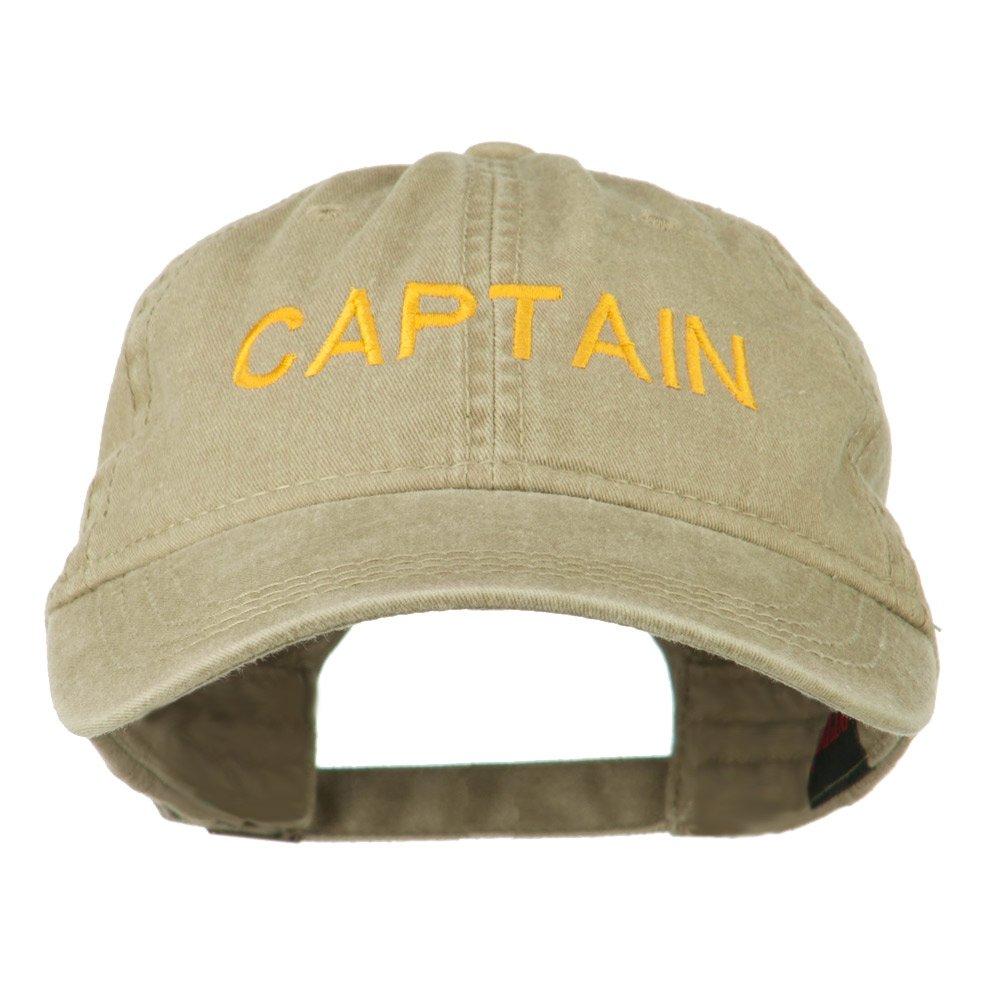 c1c32a7b72d e4Hats.com Captain Embroidered Low Profile Washed Cap - Khaki OSFM at  Amazon Men s Clothing store