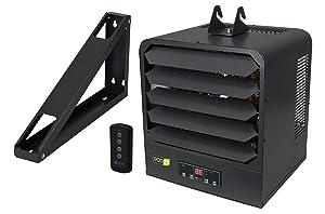 KING KB2410-1-B2-ECO KB ECO2S 240-Volt 10,000-Watt Garage Heater with Bracket, Thermostat and Remote Control, 10,000 Watt, Gray