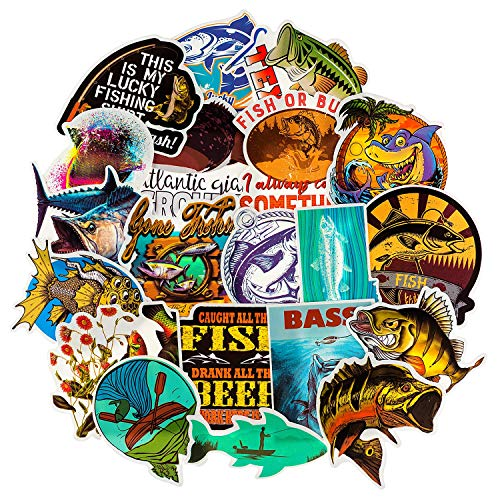 Go Fishing Stickers[65PCS], Cool Outdoor Adventure Stickers for Tackle Box Laptop Phone Computer Tool Box Water Bottle Luggage Storage Car, Waterproof Graffiti Decals for Fisherman Fishing Enthusiast