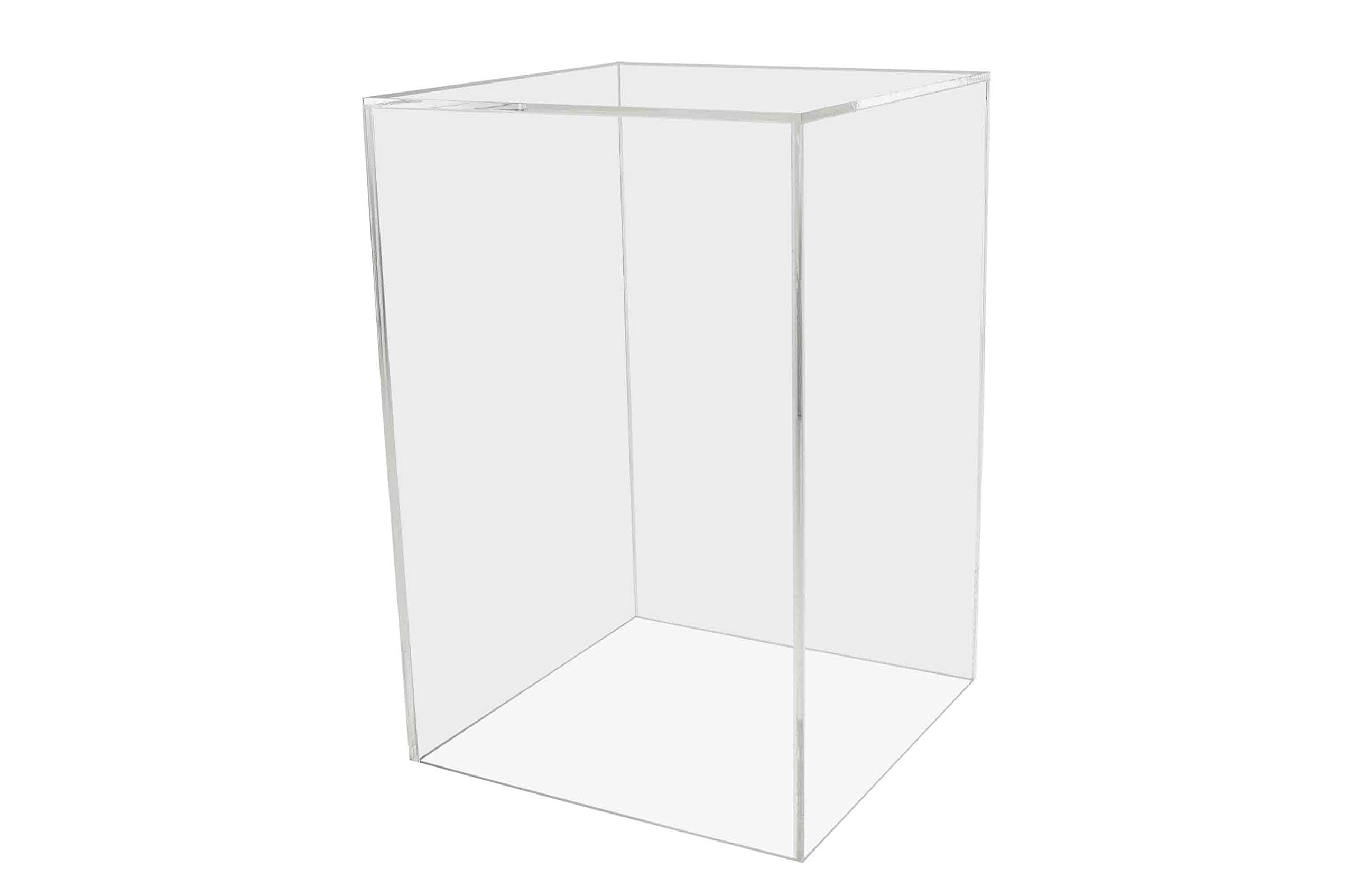 Marketing Holders Pedestal Display Box 8''w x 8''d x 12''h Showcase Cube Display Collectible Cover Trinkets Trophy Display 5 Sided Square Activity Cube