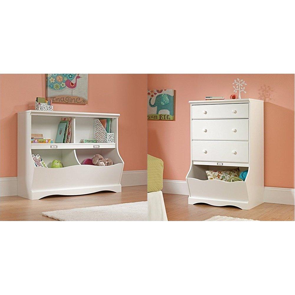 Sauder Pogo Bookcase/Footboard, Soft White Finish + Sauder Pogo 3-Drawer Chest, Soft White Finish_Bundle by